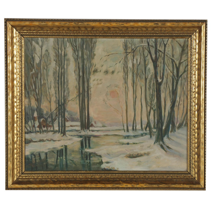 Winter Landscape Oil Painting, Mid-20th Century