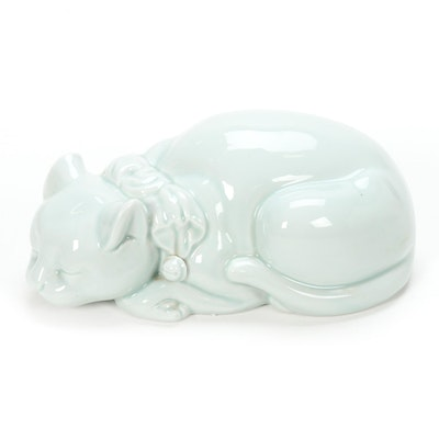 Celadon Glazed Porcelain Cat Figurine