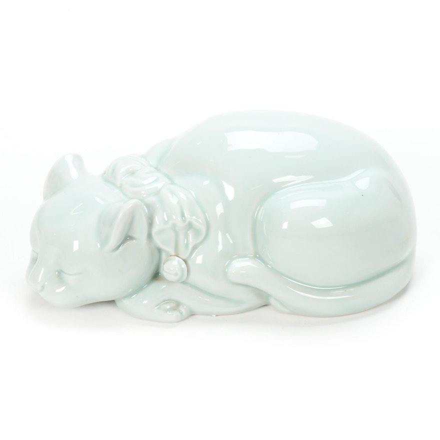 Celadon Glazed Porcelain Cat Figurine