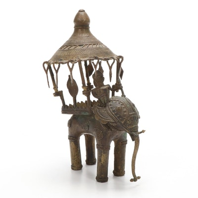 Southeast Asian Bronze Elephant Rider Figurine