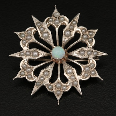 Vintage Sterling Opal and Faux Pearl Flower Brooch