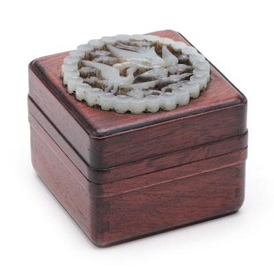 Chinese Rosewood Box with Carved Nephrite Medallion Lid