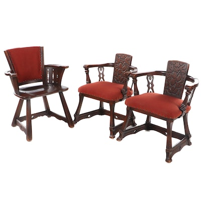 Three Romweber Oak Armchairs, 20th Century
