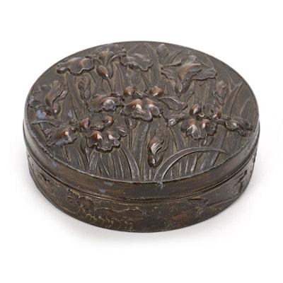 Art Nouveau Iris Themed Bronze Repoussé Vanity Box, Late 19th/20th Century