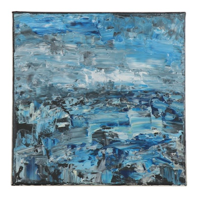 "Leira Veylin Abstract Acrylic Painting ""Sea,"" 2020"