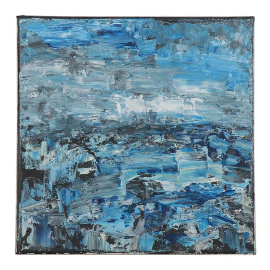 "Leira Veylin Abstract Acrylic Painting ""Sea,"" 2020"