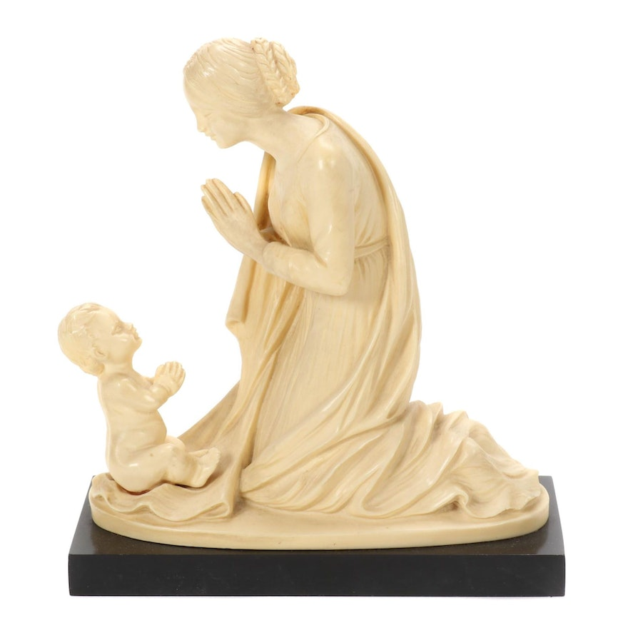 Gino Ruggeri Resin Sculpture of Praying Mother and Child