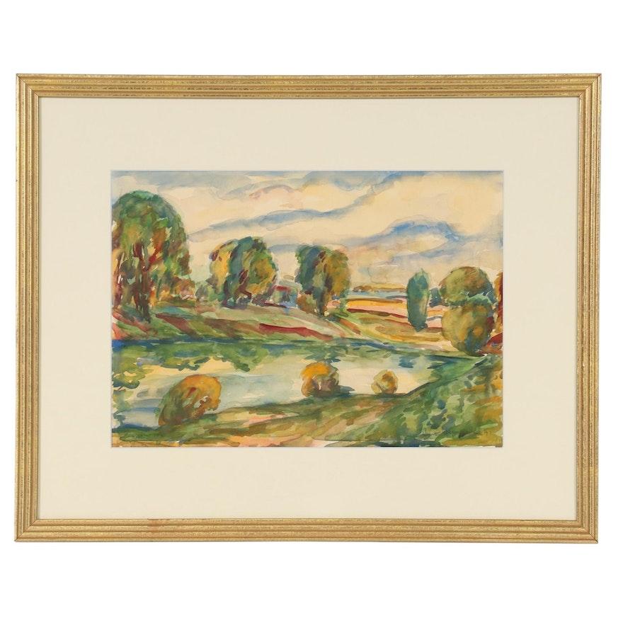 Arno Hempel Landscape Watercolor Painting, 1941