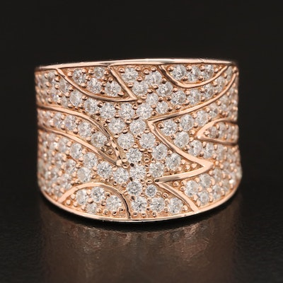 Sterling Cubic Zirconia Patterned Saddle Ring