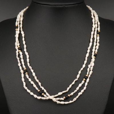 14K Baroque Pearl and Black Onyx Triple Strand Necklace