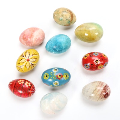 Polish and Italian Hand-Painted Wood and Stone Eggs