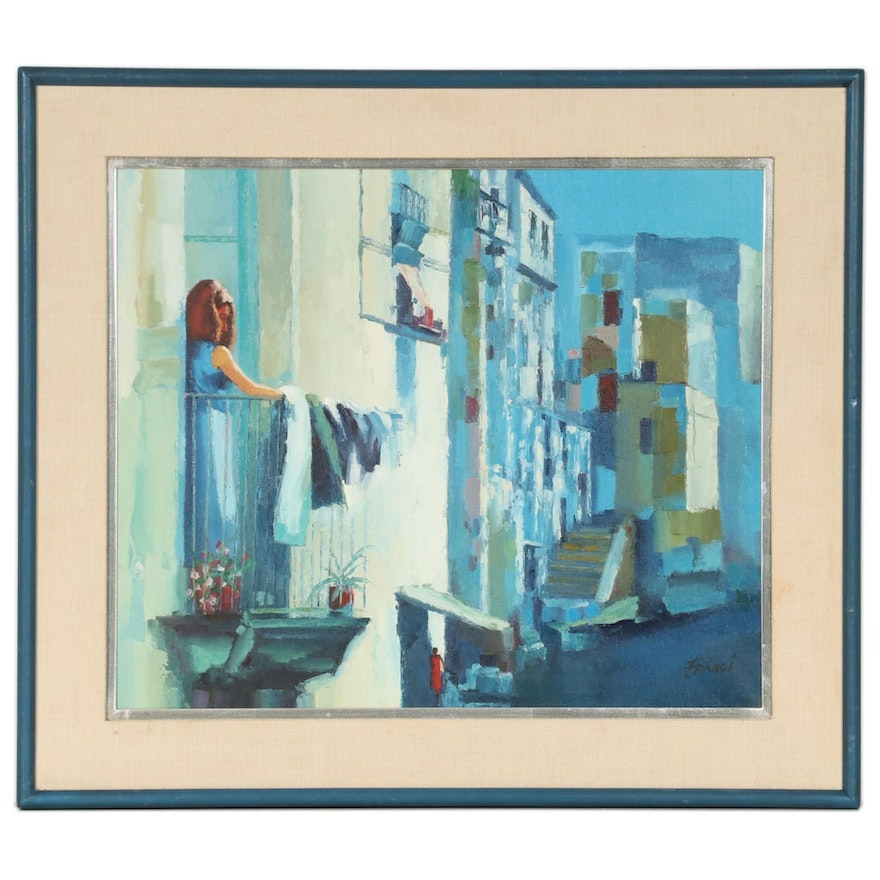 Modernist Style Oil Painting of Street Scene, Mid-Late 20th Century