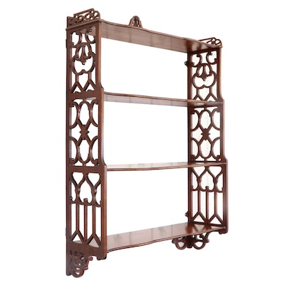 Late Victorian Mahogany Fretwork Hanging Wall Shelf, Early 20th Century