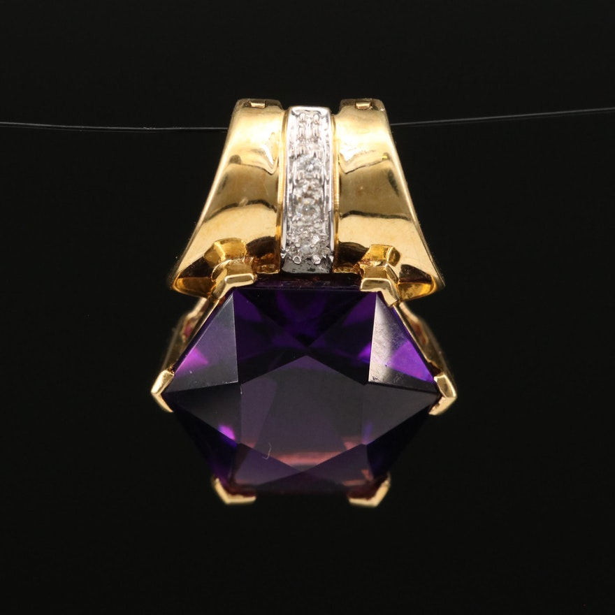 18K Amethyst and Diamond Enhancer Pendant