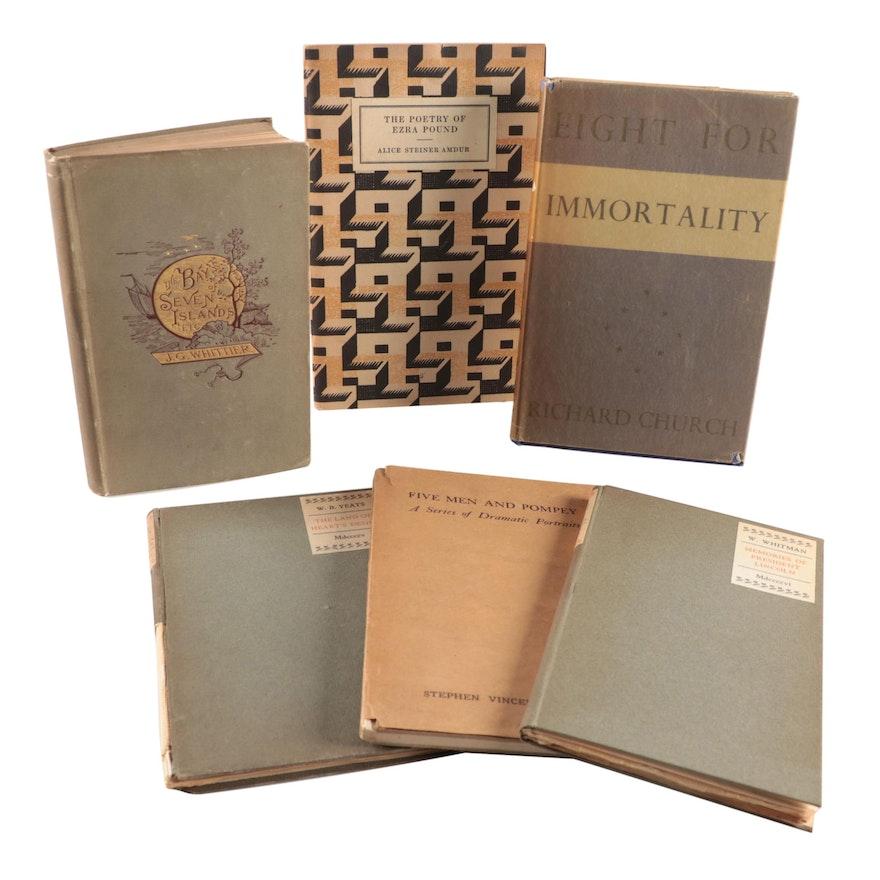 Poetry Books Including John Greenleaf Whittier, Walt Whitman, and Ezra Pound
