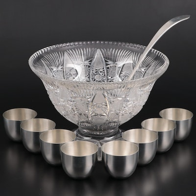 Cut Glass Punch Bowl with Stieff Pewter Jefferson Cups and Label