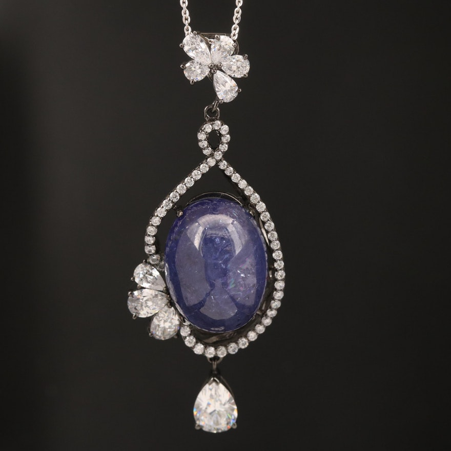 Sterling Tanzanite and Cubic Zirconia Necklace