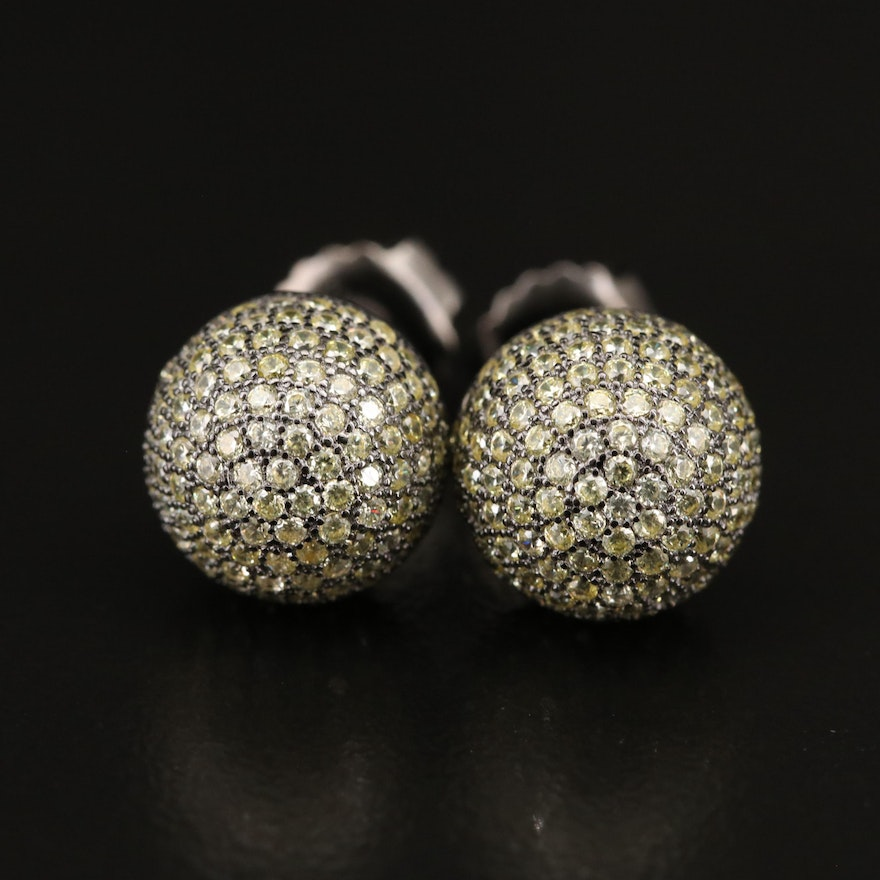 Sterling Cubic Zirconia Orb Stud Earrings