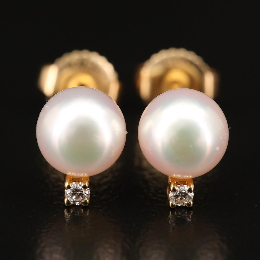 Mikimoto 18K Pearl and Diamond Stud Earrings