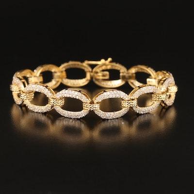 Sterling Cubic Zirconia Oval Link Bracelet