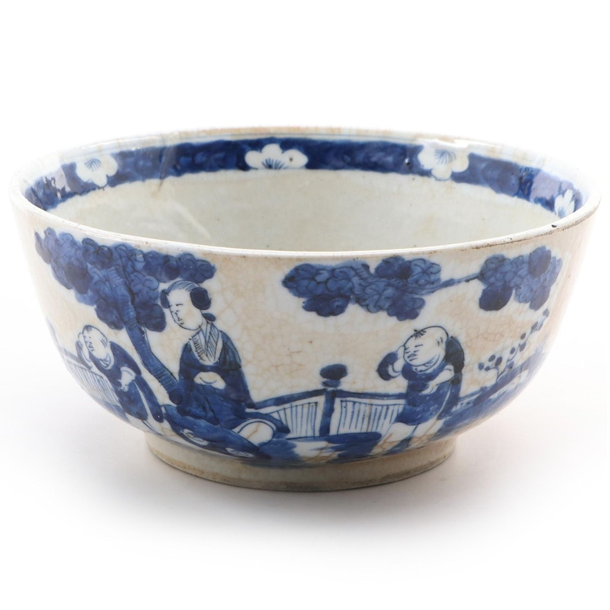 Chinese Kangxi Blue and White Porcelain Bowl, Early 20th Century
