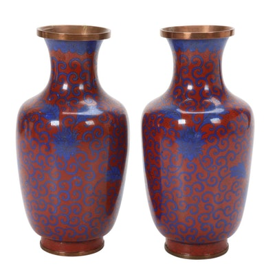 Chinese Red and Blue Cloisonné  Vase, Mid to Late 20th Century