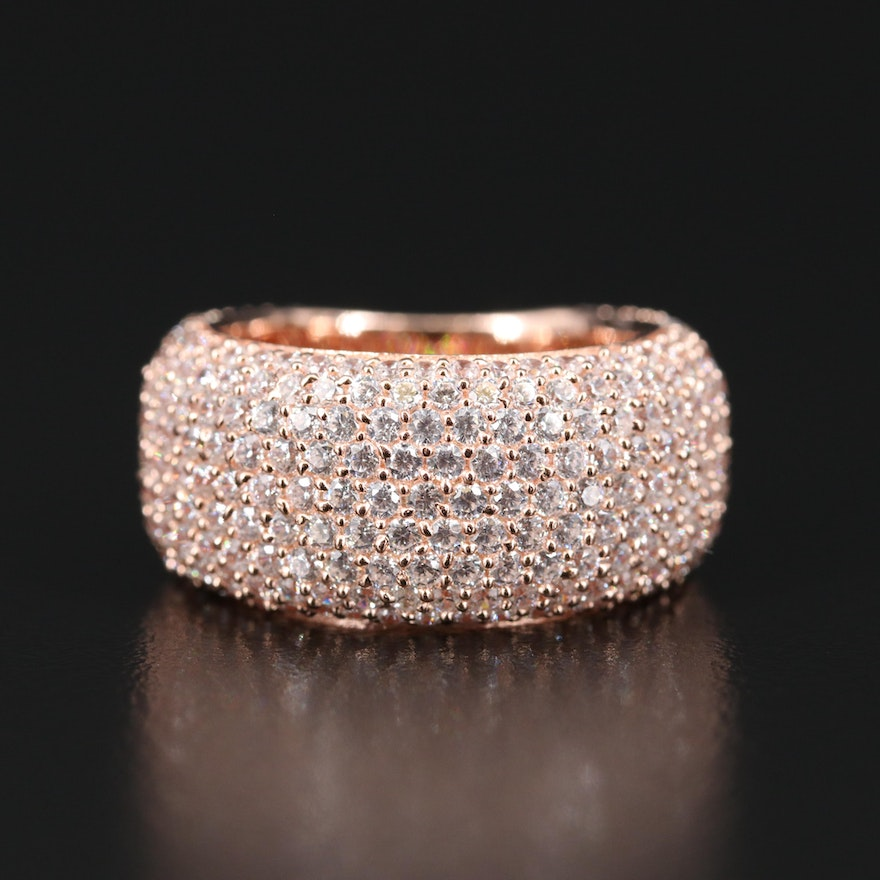 Sterling Silver Pavé Cubic Zirconia Band