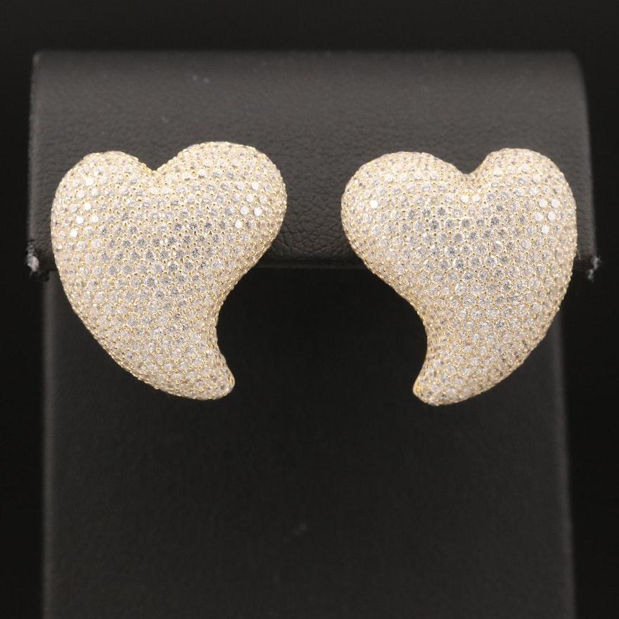 Sterling Cubic Zirconia Heart Earrings