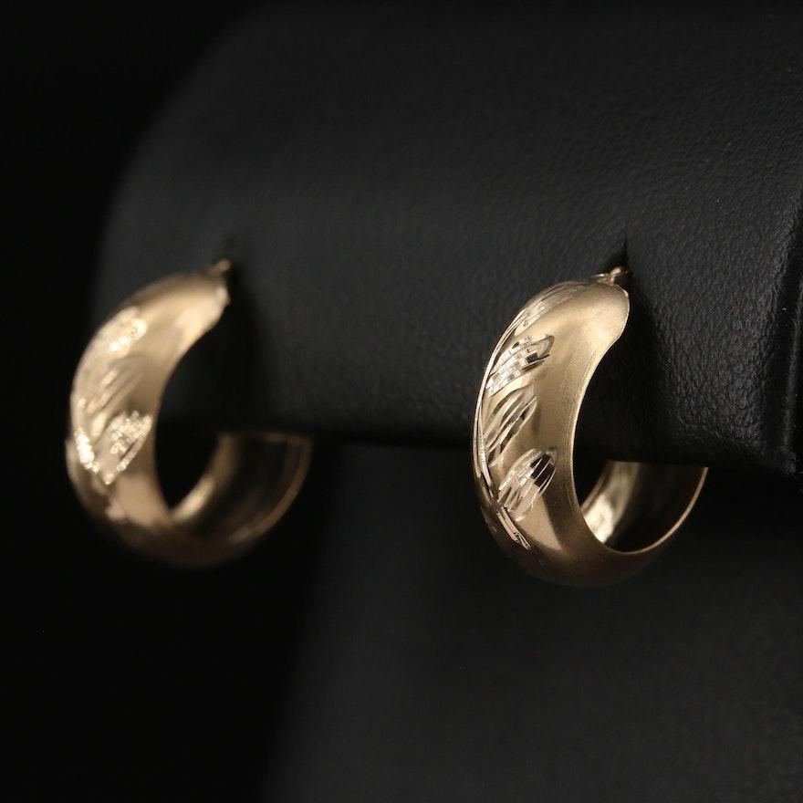 14K Foliate Hoop Earrings