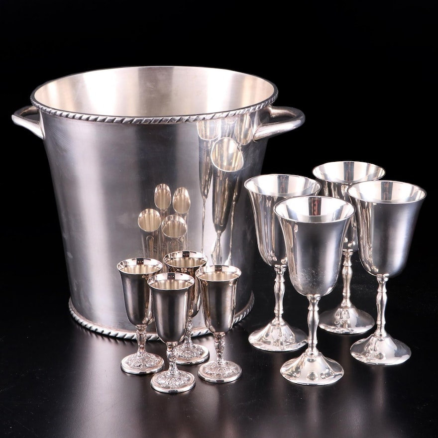 Pottery Barn Silver Plate Ice Bucket and Stemware