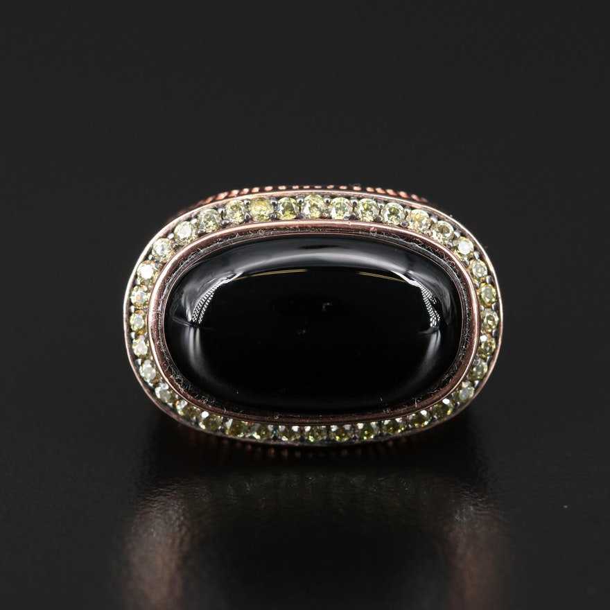 Sterling Silver Black Onyx and Cubic Zirconia Ring