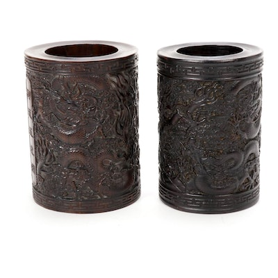 Chinese Carved Hardwood Dragon Motif Brush Pots