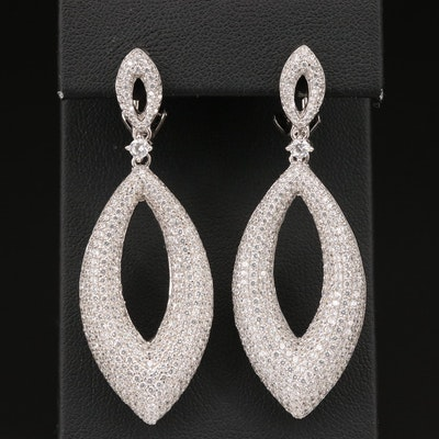 Sterling Pavé Cubic Zirconia Navette Earrings