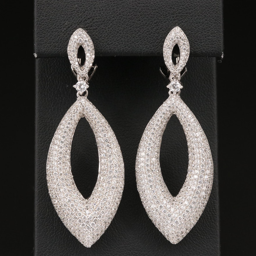 Sterling Pavé Cubic Zirconia Navette Earrings