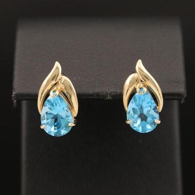 14K Swiss Blue Topaz Earrings