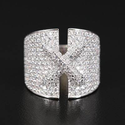 "Sterling Silver Cubic Zirconia ""X"" Tapered Band"