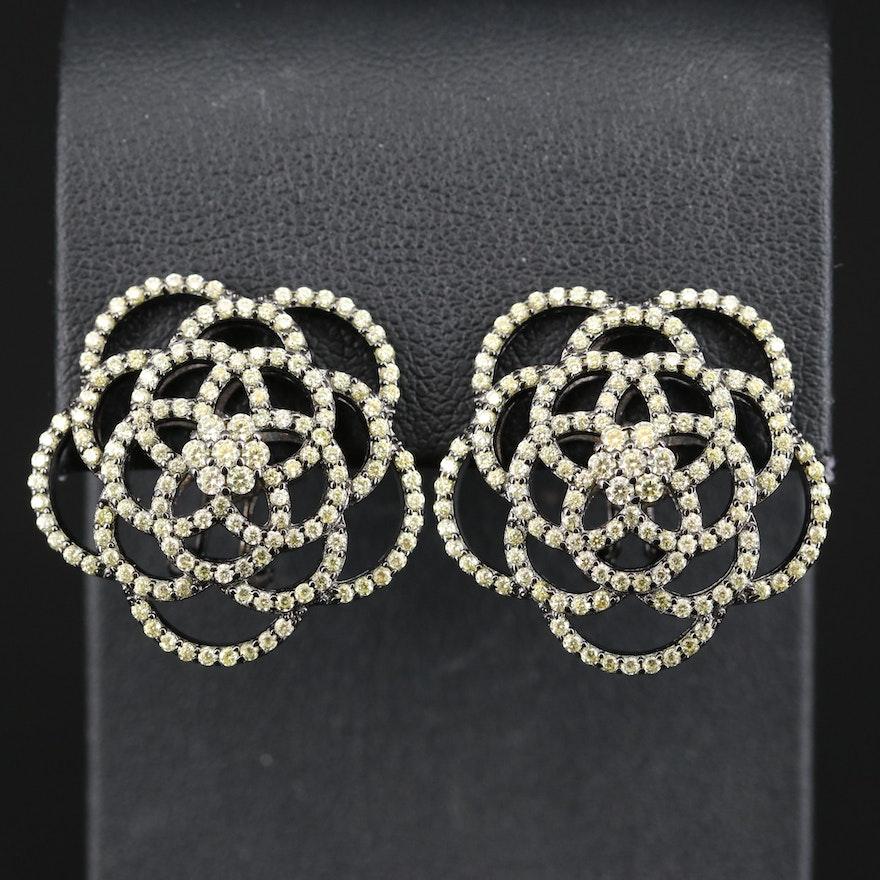 Sterling Silver Cubic Zirconia Floral Earrings