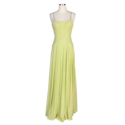 Alberto Makali Citron Evening Dress with Chain Straps and Shoulder Wrap
