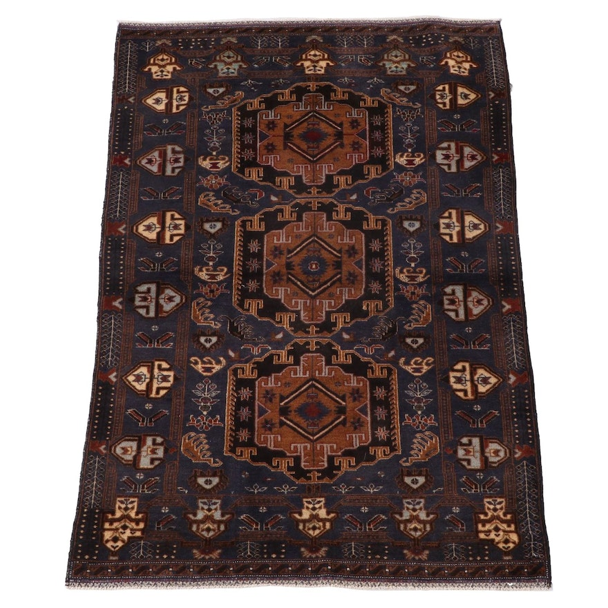 3'11 x 6'3 Hand-Knotted Persian Shahsavan Wool Area Rug