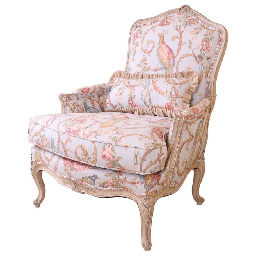 Louis XV Style Floral Upholstered Bergère, Mid to Late 20th Century