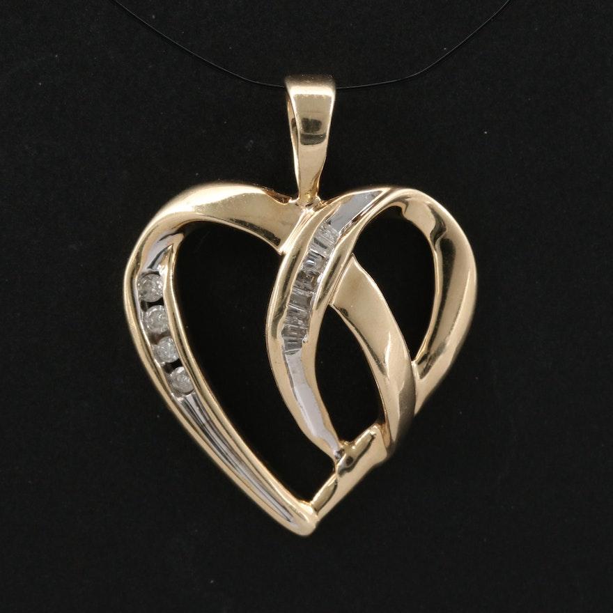10K Channel Set Diamond Heart Pendant