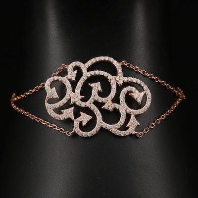Sterling Cubic Zirconia Swirl Design Bracelet