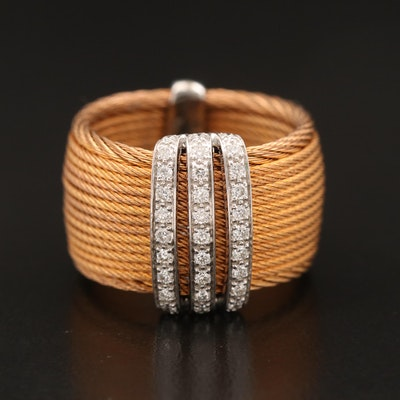 Alor Stainless Steel Band with 18K White Gold and Diamond Accents