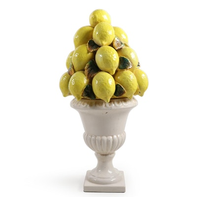 Ceramic Lemon Topiary Centerpiece