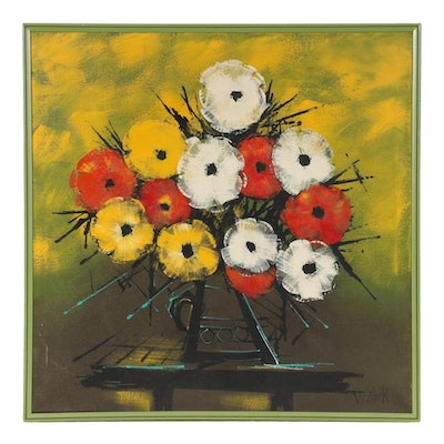 Modernist Style Acrylic Painting of Floral Still Life, Late 20th Century