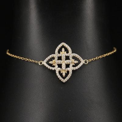 Sterling Cubic Zirconia Quatrefoil Bracelet