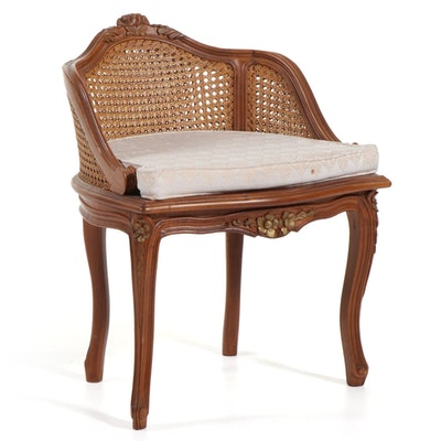 French Provincial Style Wood and Wicker Vanity Bench with Cushion