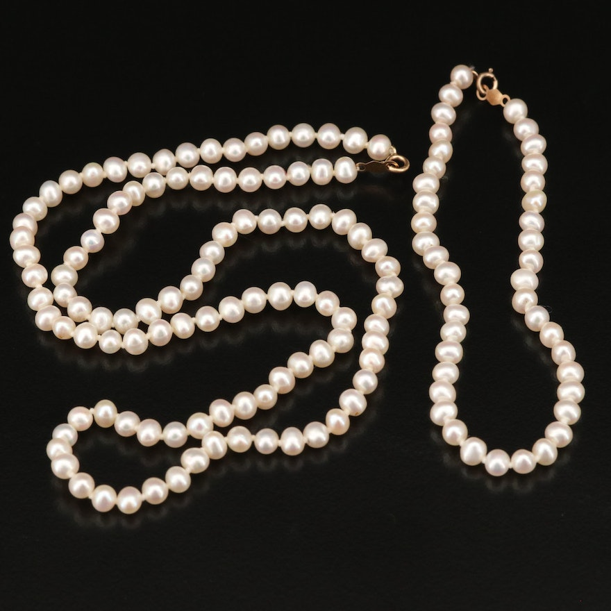 Hand Knotted Pearl Necklace and Bracelet Set with 14K Clasps