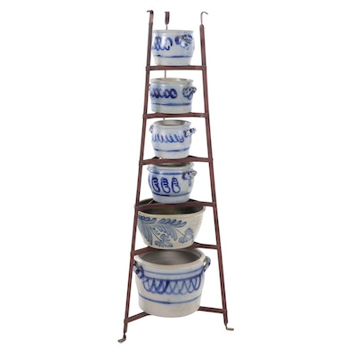 Metal Six Tiered Pot Rack with Salt Glazed Stoneware Crocks
