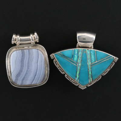 Sterling Turquoise and Opal Inlay Pendant and Blue Lace Agate Pendant
